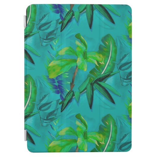Green blue tropical foliage iPad air cover