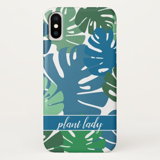 Green Blue Tropical Monstera Leaves Plant Lady iPhone X Case