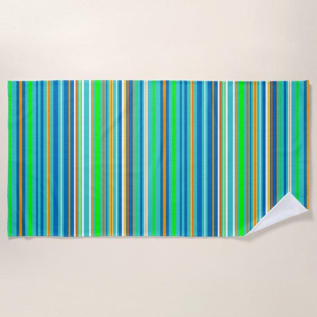 Green Blue Turquoise Orange Stripes Beach Towel