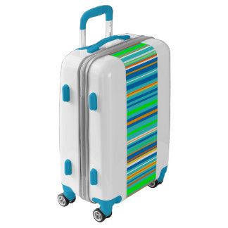 Green Blue Turquoise Stripe Pattern Luggage