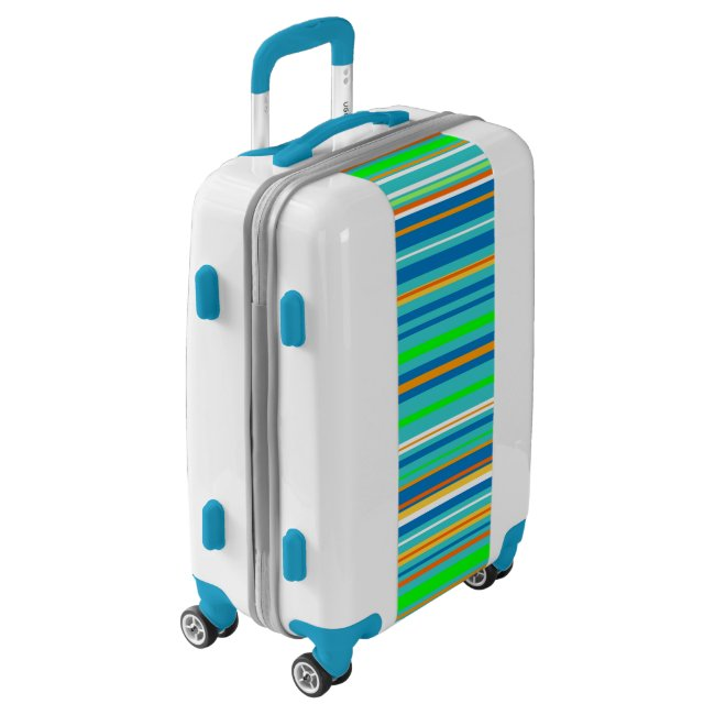 Green Blue Turquoise Stripe Pattern Luggage