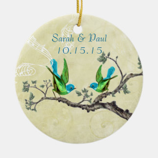 Green & Blue Vintage Love Birds Christmas Ornament