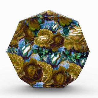 Green Blue Vintage Roses Acrylic Award