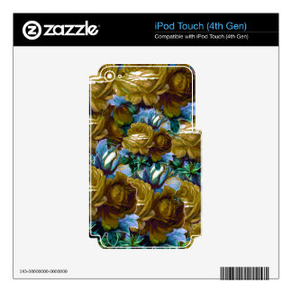 Green Blue Vintage Roses iPod Touch 4G Skin