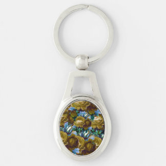 Green Blue Vintage Roses Keychain