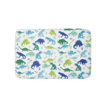 Green Blue Watercolor Dinosaur Silhouette Kids Bath Mat