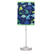 Green Blue Watercolor Dinosaur Silhouette Kids Table Lamp