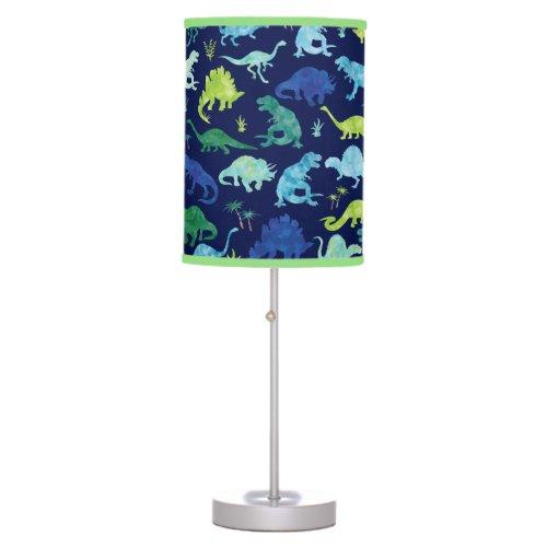 Green Blue Watercolor Dinosaur Silhouette Kids Table Lamp