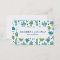 Green & Blue Watercolor Succulent Pattern Business Card