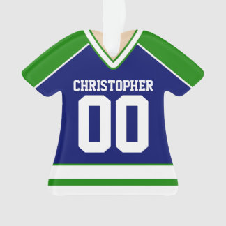 Green/Blue/White Custom Hockey Jersey Ornament