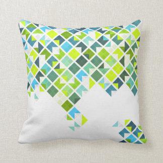 Green, blue, white geometric pattern pillow