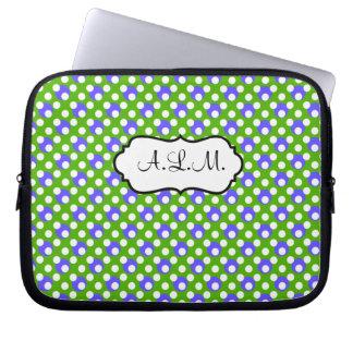 Green, Blue, White Polka Dots Laptop Sleeve