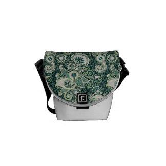 Green, Blue, & White Retro Paisley Messenger Bag