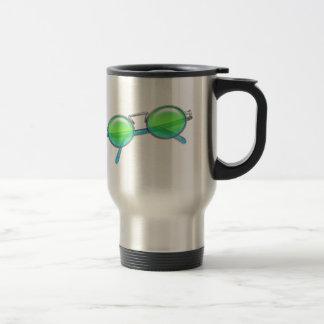 Green & Blue Wire Rimmed Sunglasses Travel Mug