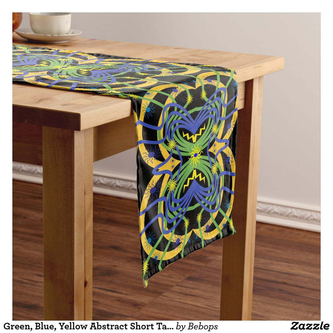 Green, Blue, Yellow Abstract Short Table Runner