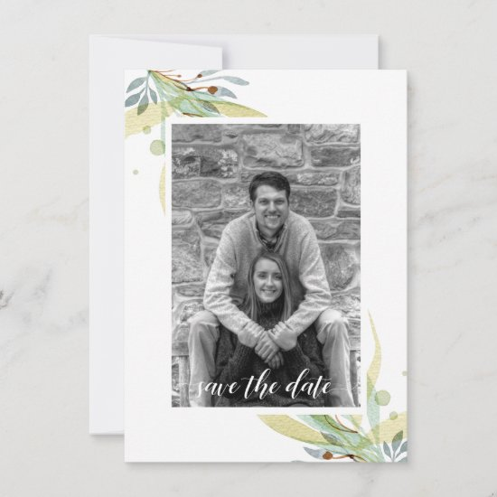 Green Blue Yellow Botanicals Photo Save the Date