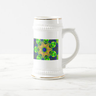 Green Blue Yellow Gold Sunrise Sunset Bow Lace Beer Stein