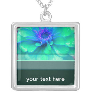 Green & Blue Zinnia Square Pendant Necklace