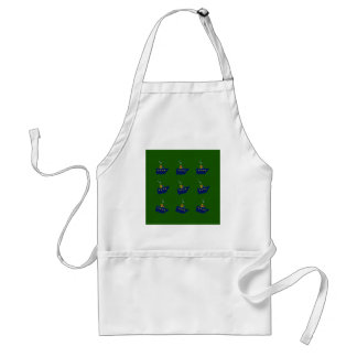 Green boats with blue adult apron