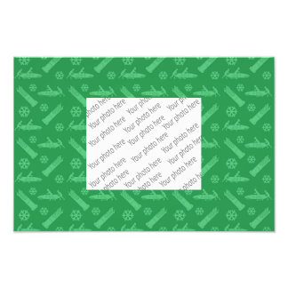 green bobsled pattern photo print