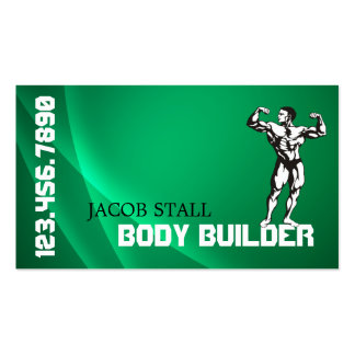 Green Body Builder Personal Trainer Fitness Business Card