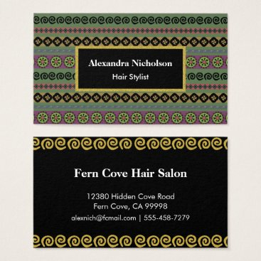 Aztec Themed Green Boho Aztec Pattern Hipster Tribal Business Card