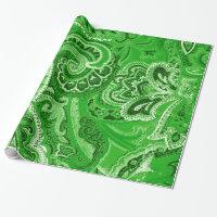 Green Boho Chic Retro Hippy Paisley Bandanna Wrapping Paper