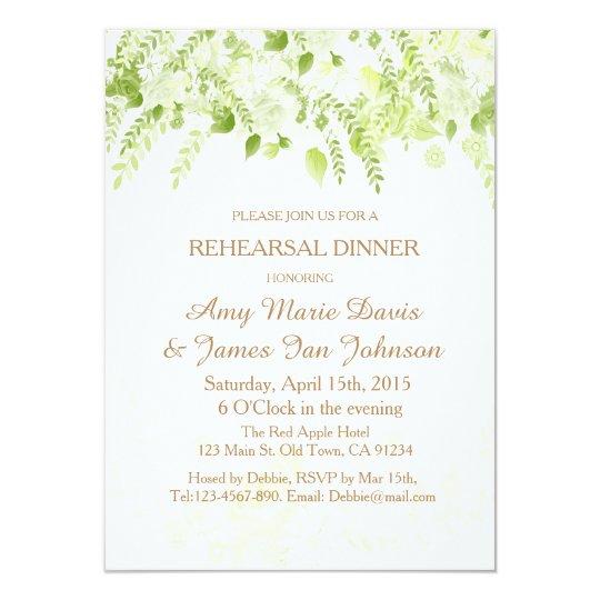green boho floral spring rehearsal dinner invite zazzle com