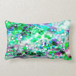 Green Bokeh 92015 Remix Lumbar Pillow
