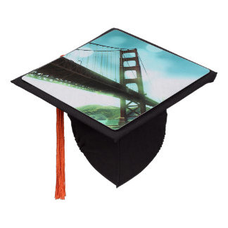 Green Bokeh Golden Gate Bridge Graduation Cap Topper