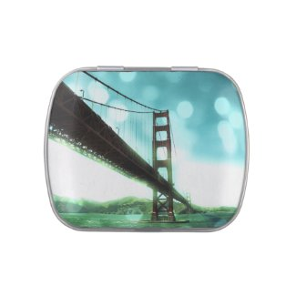 Green Bokeh Golden Gate Bridge Jelly Belly Candy Tin