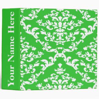 Green Bold Damask w/ name at Emporiomoffa 3 Ring Binder