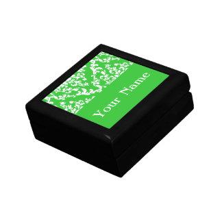 Green Bold Damask w/ name @ Emporiomoffa Keepsake Box