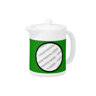 Green Bold Personalized Photo Teapot