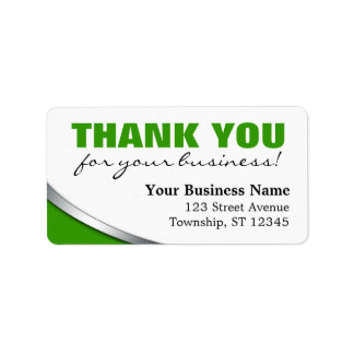"""Green Bold """"Thank you for your Business"""" Labels"""