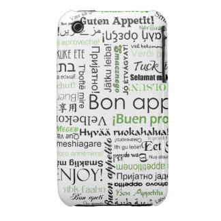 Green Bon appetit in other languages iPhone 3 Case-Mate Case