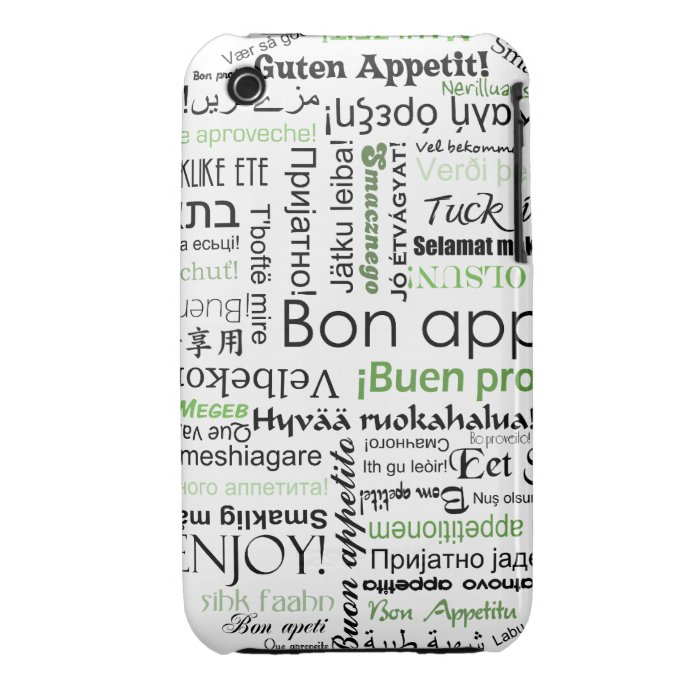 Green Bon appetit in other languages iPhone 3 Cover