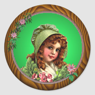 GREEN BONNET & FRAME by SHARON SHARPE Classic Round Sticker