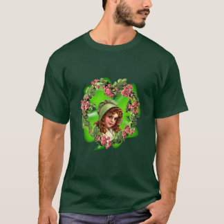 GREEN BONNET & SHAMROCK by SHARON SHARPE T-Shirt