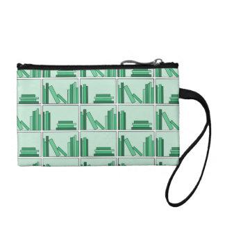 Green Books on Shelf. Coin Purses