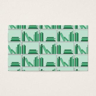 Green Books on Shelf. Business Card