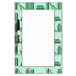 Green Books on Shelf. Dry-Erase Whiteboards
