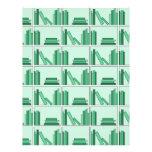 Green Books on Shelf. Flyer Design