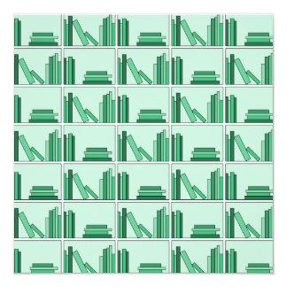 Green Books on Shelf. Invitation