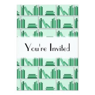 Green Books on Shelf. Card
