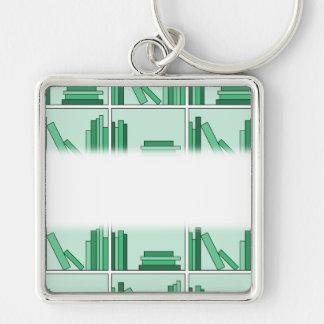 Green Books on Shelf. Keychain