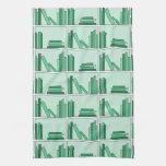 Green Books on Shelf. Kitchen Towels