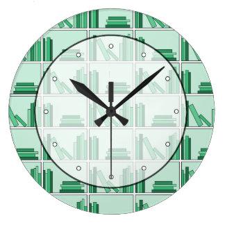 Green Books on Shelf. Large Clock