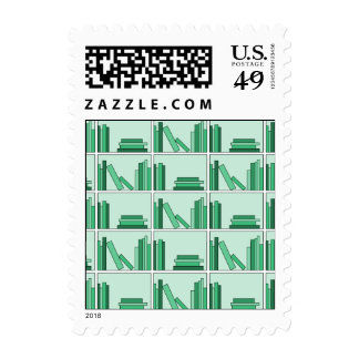 Green Books on Shelf. Postage Stamp