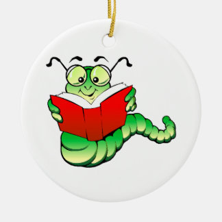 Green Bookworm with Glasses Reading a Red Book Ceramic Ornament